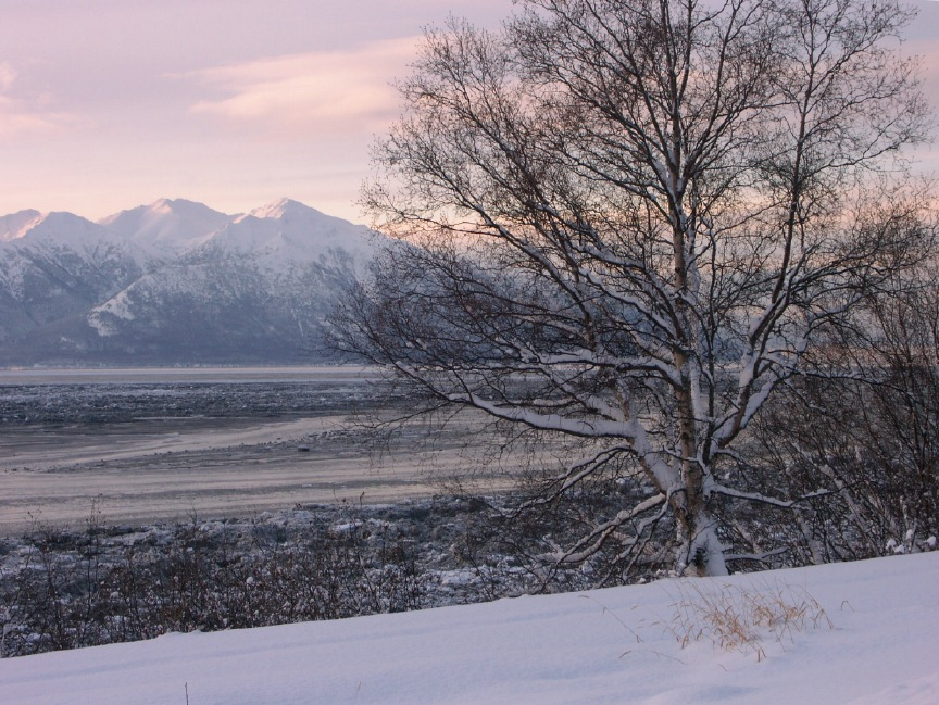 Winter Images from Anchorage, Alaska Sunset Over Snowy Mountains